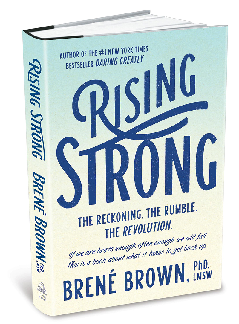 picture of a book titled rising strong